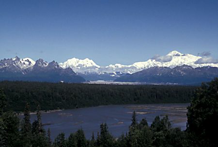Alaska Range in Denali National Park over Chulitna River, from Mile 135 Viewpoint on Parks Highway