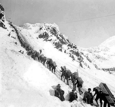 Prospectors ascending the Chilkoot Pass, 1898