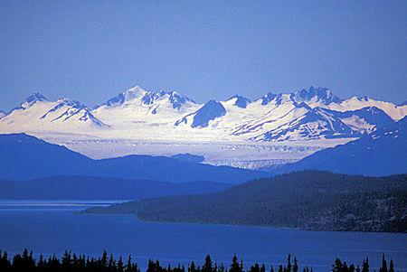 Llewellyn Glacier across Atlin Lake, British Columbia