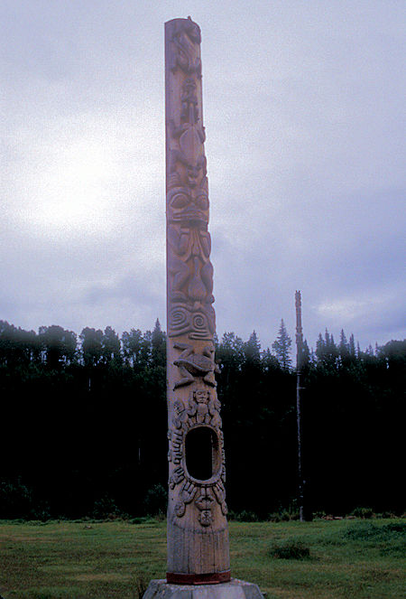 Original 'Hole in the Ice' Totem Pole erected circa 1840 at Kitwancool, British Columbia