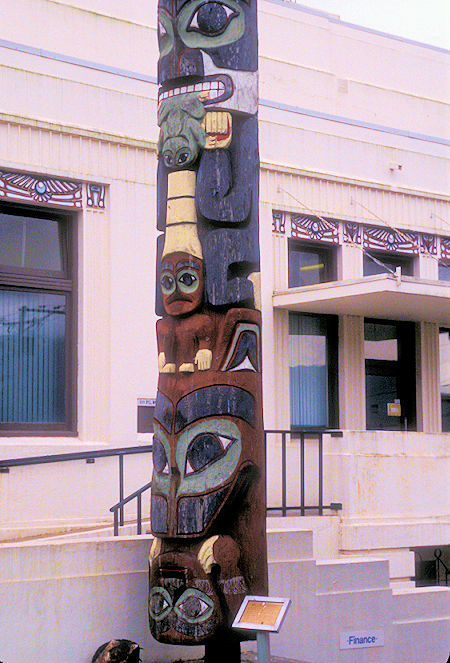 Totem Pole at city hall in Prince Rupert, British Columbia