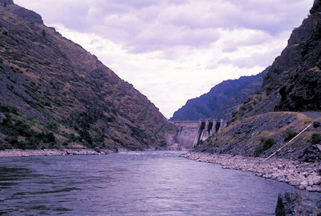 Looking up the Snake River toward Hells Canyon Dam