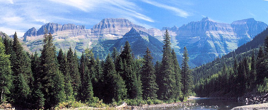 Flattop Mtn & Others, Garden Wall above McDonald Creek, Glacier National Park