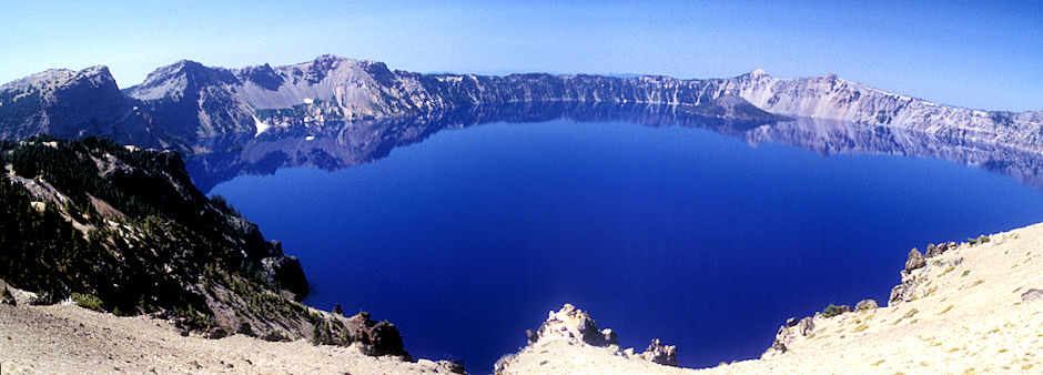 Wizard Island on right with The Watchman and Mt. Hillman above, Crater Lake, Crater Lake National Park, Oregon