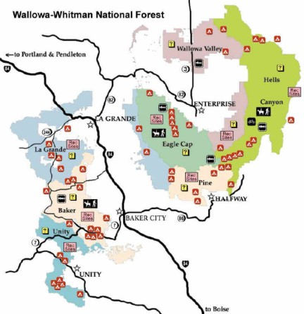 Wallowa-Whitman National Forest Recreation Map - USFS drawing