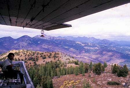 Lightning Bill and scene along ridge at Goat Peak Lookout near Winthrop, Washington