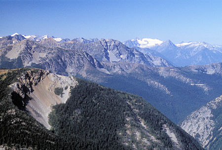 Snowfield Peak (right) from 7,440' Slate Peak near Harts Pass, Washington