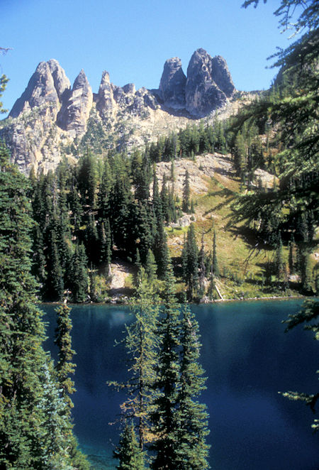 Liberty Bell Mountain (left) and Early Winters Sphires (right) over Blue Lake, North Cascades Highway