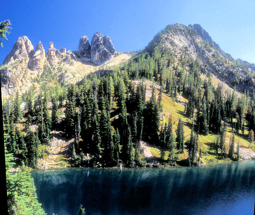 Liberty Bell Mountain (left) and Early Winters Sphires (center) over Blue Lake, North Cascades Highway